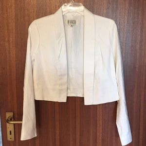 BB Dakota cropped white linen blazer